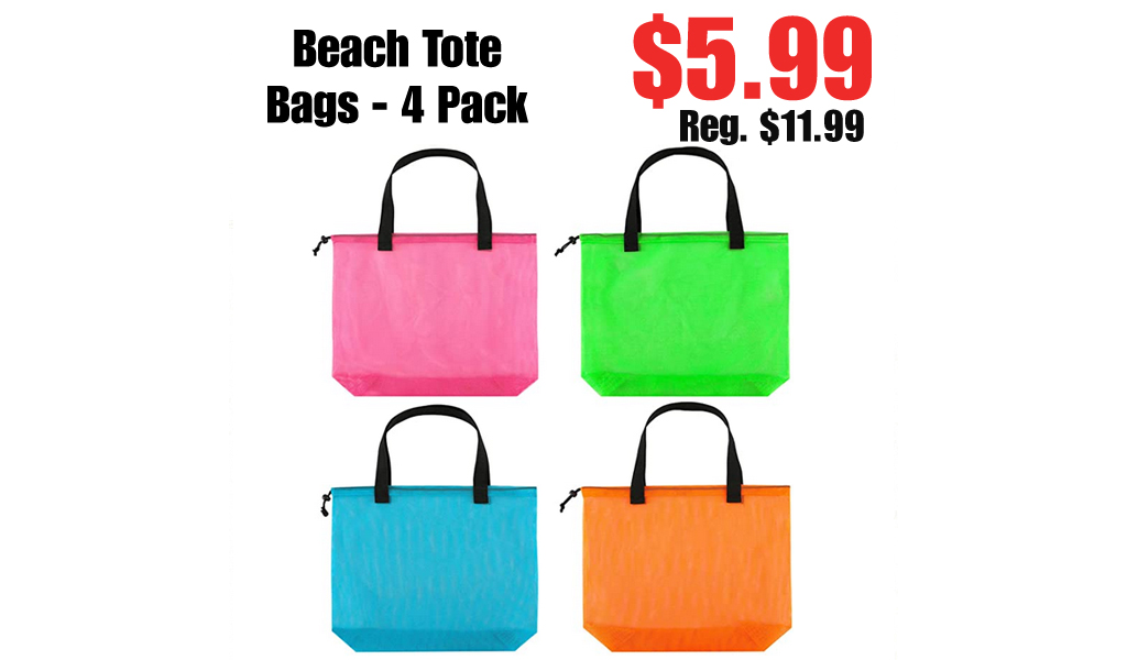 Beach Tote Bags - 4 Pack Only $5.99 Shipped on Amazon (Regularly $11.99)