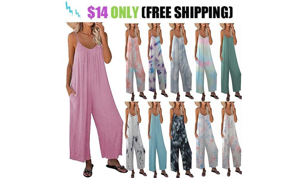 IWomens Tie dye Floral Printed Jumpsuits Casual Sleeveless Spaghetti Strap Rompers Wide Leg Pants With Two Pockets+Free Shipping!
