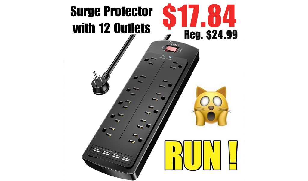 Surge Protector w/ 12 Outlets & 4 USB Ports Only $17.84 on Amazon | Over 2,200 5-Star Reviews