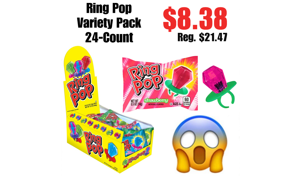 Ring Pop Variety Pack 24-Count Only $8.38 on Amazon | Just 35¢ Per Ring Pop