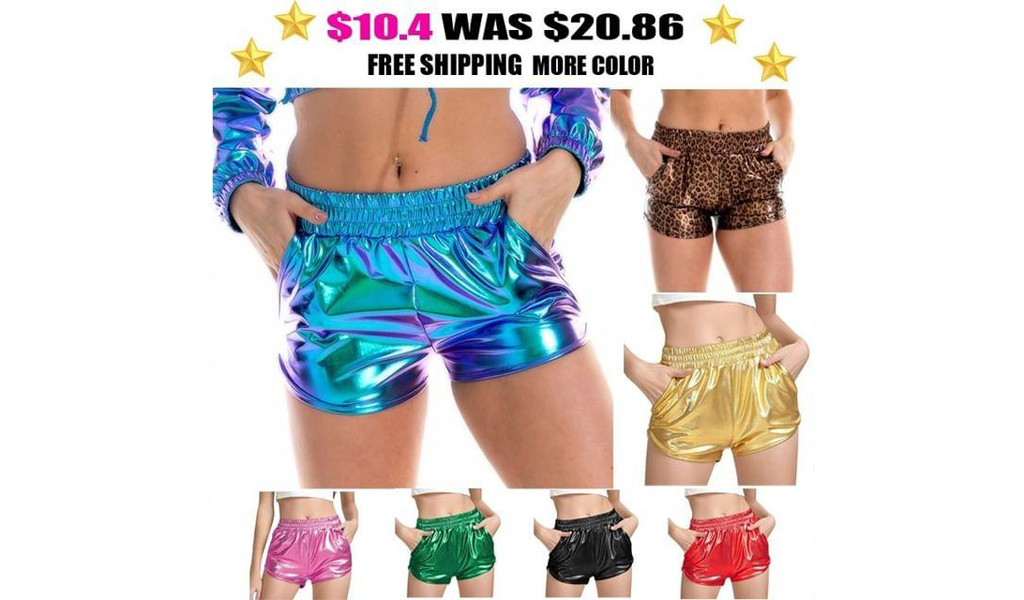 Women Metallic Shorts Elastic Waist Shiny Sparkly Rave Pants+Free Shipping!