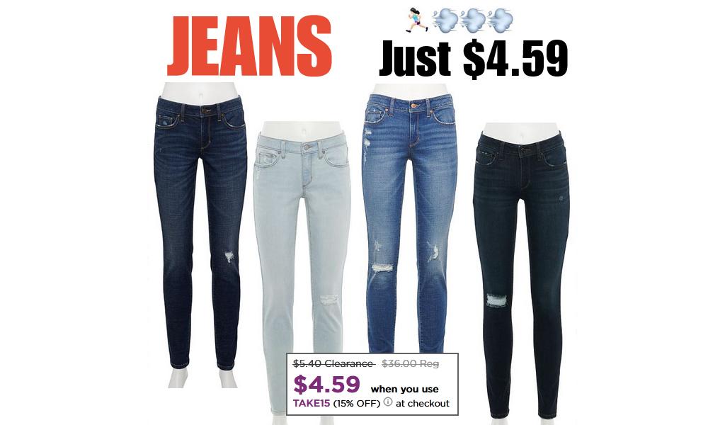 Women's Jeans Only $4.59 on Kohls.com