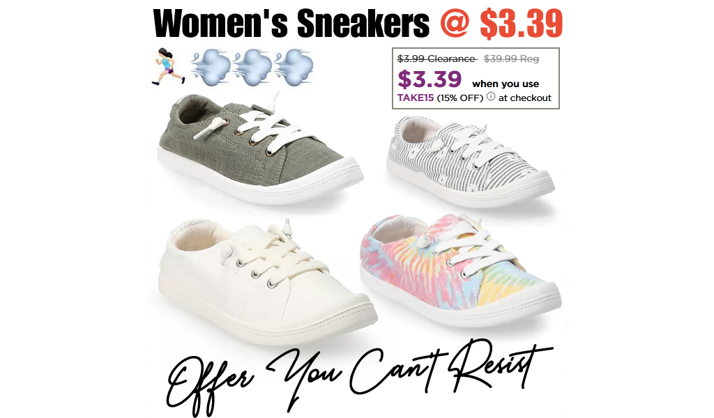 Women's Sneakers Only $3.39 on Kohls.com