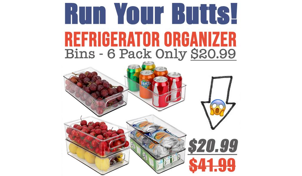 Refrigerator Organizer Bins - 6 Pack Only $20.99 Shipped on Amazon (Regularly $41.99)