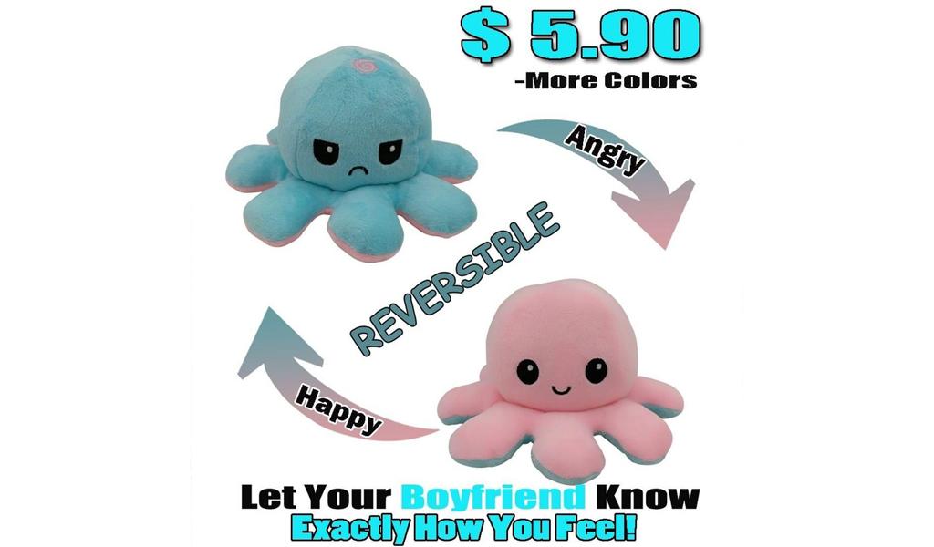 67% Off Reversible Octopus Plushie +Free Shipping!