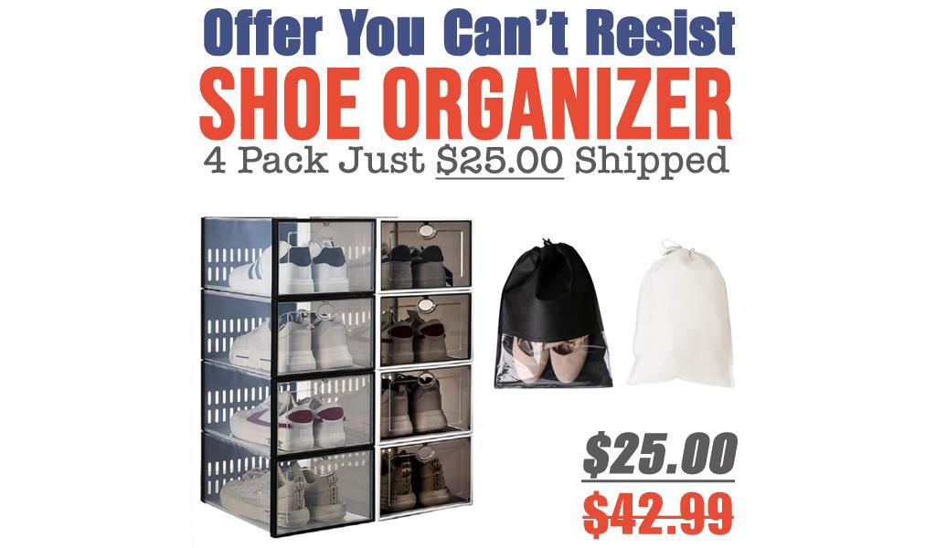 Shoe Organizer - 4 Pack Just $25.00 Shipped on Amazon (Regularly $42.99)