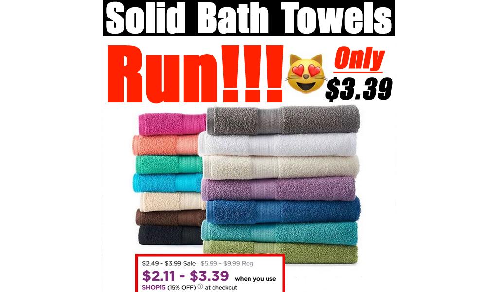 Solid Bath Towel Only $3.39 on Kohls.com (Regularly $9.99)