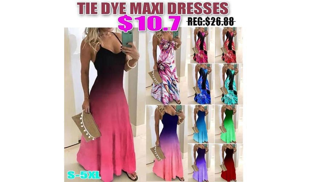 Tie Dye Maxi Dresses+Free Shipping!