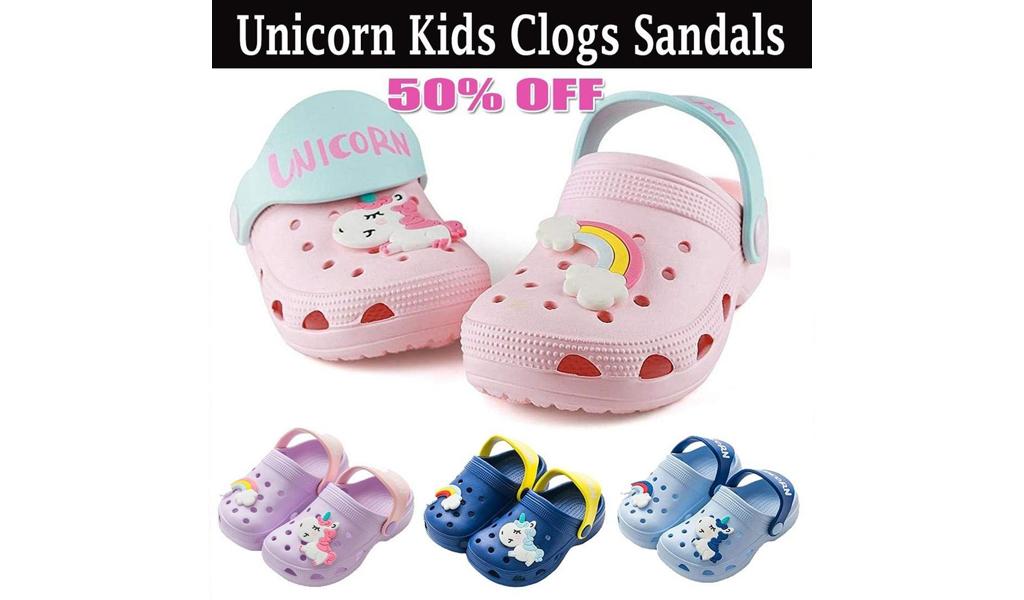 50% off Unicorn Kids Clogs Sandals