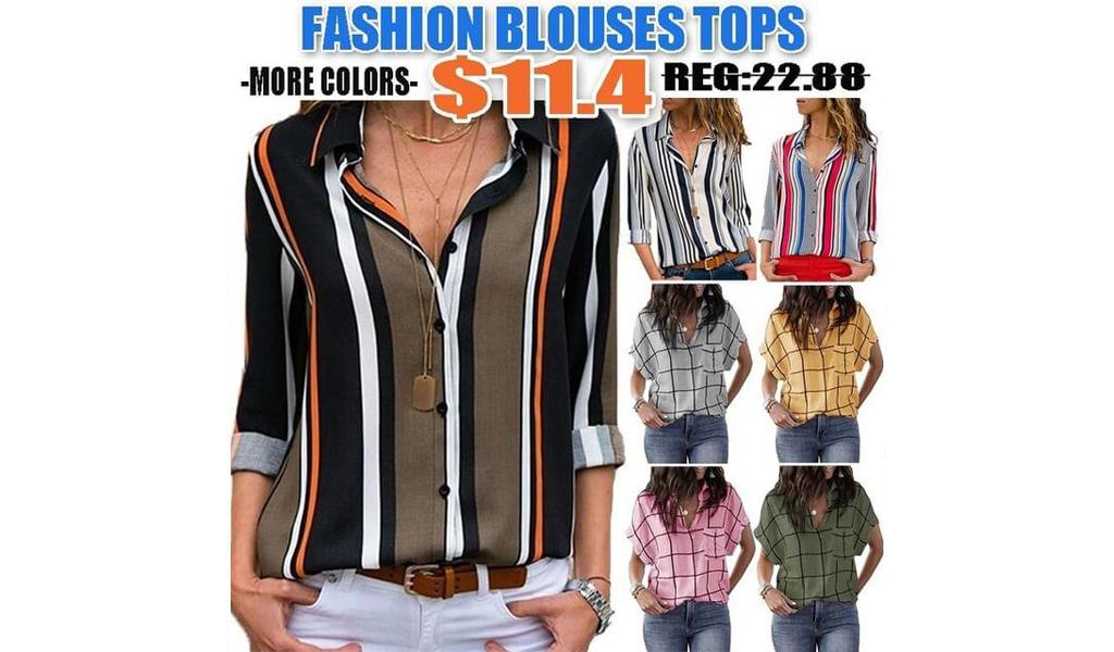 Women Fashion V Neck Grid/Striped Blouses Tops +Free Shipping!