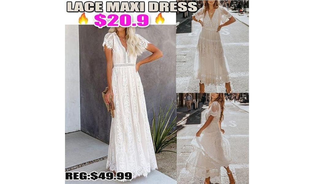Lace Maxi Dress+Free Shipping!