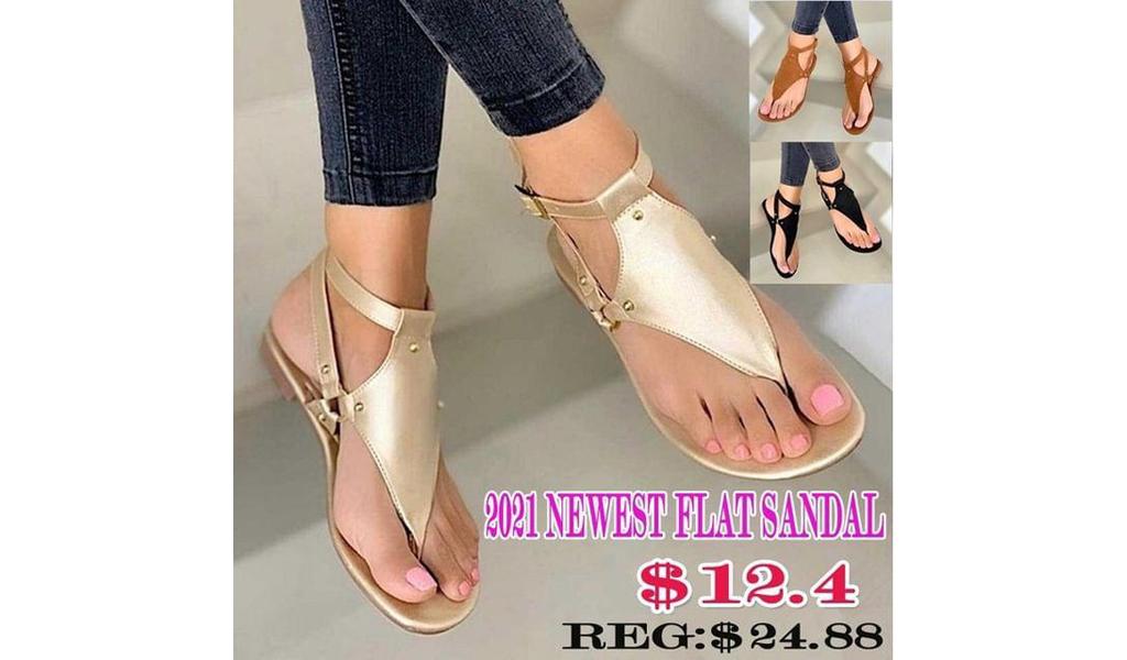 Newest 2021 Women Open Toe Flat Sandals +Free Shipping!