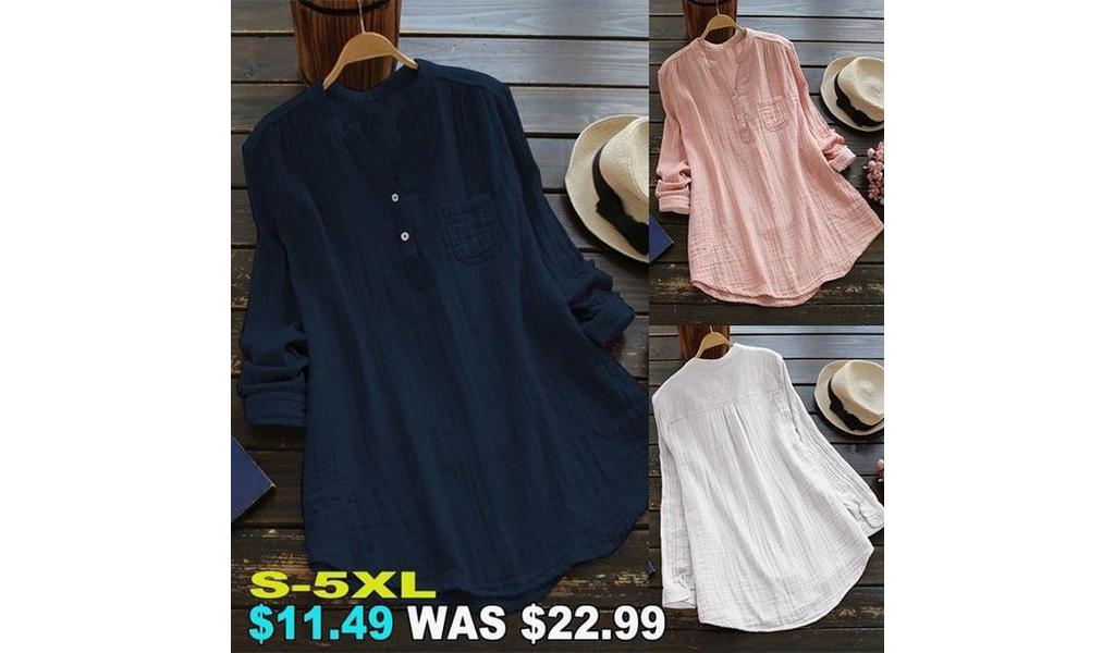 Cotton Linen Shirts For Women S-5XL +Free Shipping!