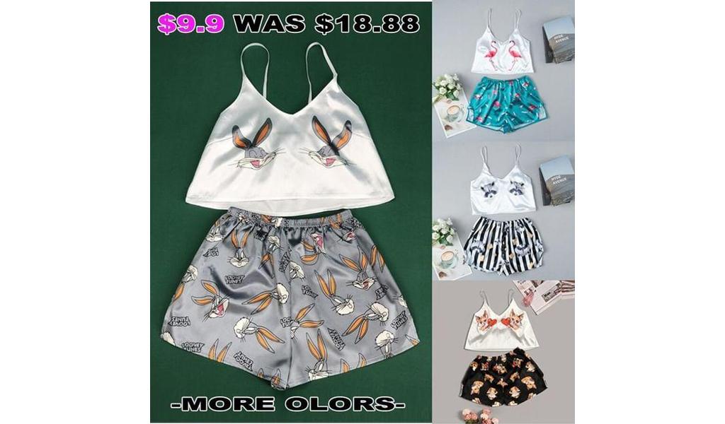 Satin Cami Shorts Pajama Sets For Women S-2XL +Free Shipping!
