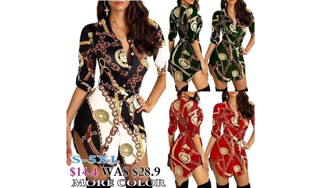 Women Fashion Chains Print Belted Casual Shirt Dress S-5XL+Free Shipping!