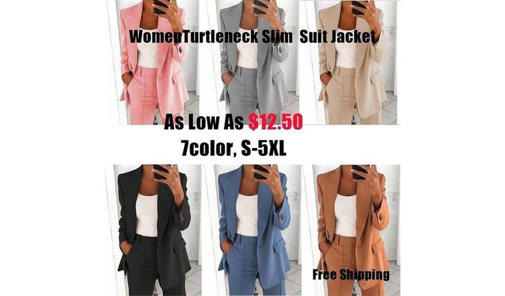 Women Turtleneck Slim Suit Jacket