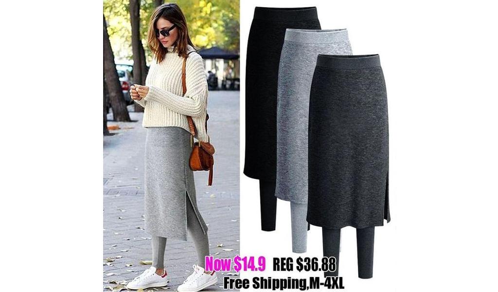 Women Autumn Winter Skirt Pants False Two-Piece📍+Free Shipping!